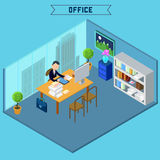 Modern Isometric Office Interior. Businessman at Work Royalty Free Stock Photography