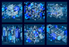 Modern isometric vector abstract dark blue backgrounds set with vector illustration