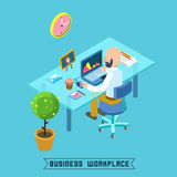 Modern Isometric Workplace. Businessman at Work Stock Image