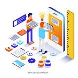 Modern isometrisk illustration för plan färg - App-utveckling royaltyfri illustrationer