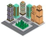 Modern isometrisk stad 3D som bygger intelligent design av lägenheten royaltyfri illustrationer