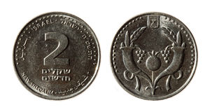 Modern Israeli coins. On the white background (2 sheqel Royalty Free Stock Images