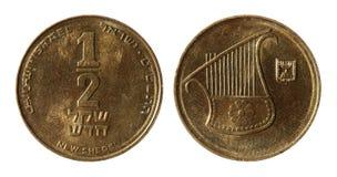 Modern Israeli coins. On the white background (1/2 sheqel stock photo