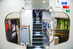 Modern Italian train with two levels, inside Stock Photography