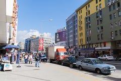 Modern Izmir city street view, walking people, cars Royalty Free Stock Photos