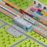 Modern järnväg isometrisk affisch för drevstation stock illustrationer