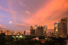 Modern Jakarta. Modern building around Senayan area in Jakarta, the capital city of Indonesia at sunset royalty free stock image
