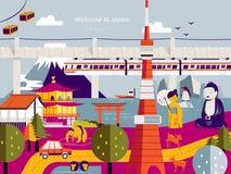 Modern Japan travel poster stock illustration