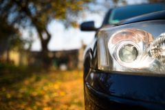 Modern japanese car headlight close up shot royalty free stock photos