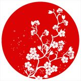 Modern japanese cherry blossom template vector. Royalty Free Stock Image