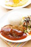 Modern japanese cuisine mamburg steak. Royalty Free Stock Images