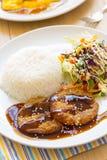 Modern japanese cuisine mamburg steak. Stock Image