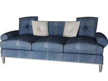 Modern jean sofa isolated on white Stock Photos