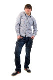 Modern Jeans Young Adult Man. Royalty Free Stock Images