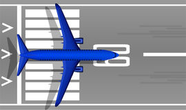 A modern jet passenger blue plane on the runway. View from above. A well-designed image with a mass of small details. Airport mark Stock Photo