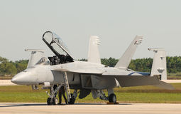 Modern jetfighter. Miami, USA - November 6, 2009: Navy F/A-18 jetfighter with folding wings preparing for flight from the Homestead Air reserve Base near Miami Stock Images