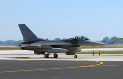 Modern jetfighter. Air Force jetfighter taxiing after landing, side view royalty free stock image