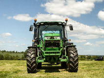 Modern John Deere green tractor Stock Photos