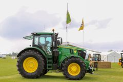 Modern John Deere tractor parked at a show Stock Photos