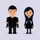 Modern jongen en meisje met betrekking tot de Goths-subcultuur royalty-vrije illustratie