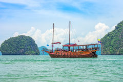 A modern junk for tourism in Phang Nga bay Stock Photos