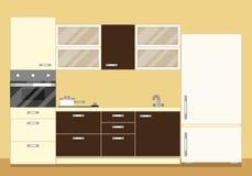Modern kökinre som den möblemanguppsättning och kylen Plan stilvektorillustration Arkivbilder