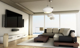 Modern 4K smart TV room with large windows and parquet floor. 3D illustration Royalty Free Stock Photos