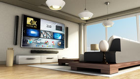 Modern 4K smart TV room with large windows and parquet floor. 3D illustration Royalty Free Stock Images
