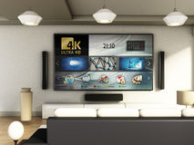 Modern 4K smart TV room with large windows and parquet floor. 3D illustration Royalty Free Stock Image