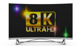 Modern 8k TV. On a white background, 3d render stock video