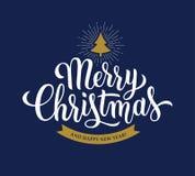 Modern kalligrafi för glad jul på blå bakgrund vektor illustrationer