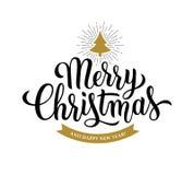 Modern kalligrafi för glad jul på vit bakgrund stock illustrationer