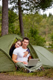 Modern kamperen royalty-vrije stock fotografie