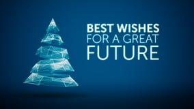 Modern Kerstmisboom en van het wensen groot toekomstig seizoen groetenbericht op blauwe achtergrond Elegant sociaal vakantieseizo Stock Fotografie