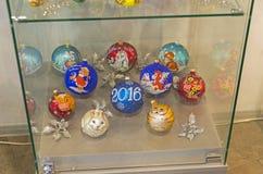 Modern Kerstmisspeelgoed op de symbolen van de Chinese horoscoop Royalty-vrije Stock Foto