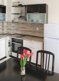 Modern keuken binnenlands ontwerp stock afbeelding