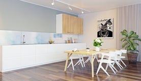Modern keukenbinnenland royalty-vrije illustratie