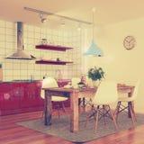 Modern keukenbinnenland - geschotene 30 - retro stijl Stock Fotografie