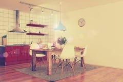 Modern keukenbinnenland - geschotene 31 - retro stijl Stock Fotografie