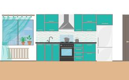 Modern keukenbinnenland met meubilair en kokende apparaten vlak ontwerp van keuken royalty-vrije illustratie