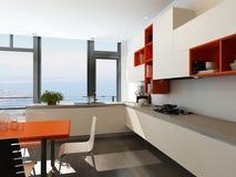 Modern keukenbinnenland met oranje en wit meubilair Stock Fotografie