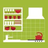 Modern keukenbinnenland met platen en ander keukenmateriaal Stock Afbeeldingen