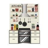 Modern keukenbinnenland in vlakke stijl royalty-vrije illustratie