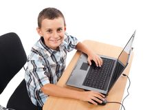 Modern kid at the laptop Stock Photo