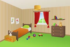 Modern kid room beige toys green bed orange pillow window illustration Stock Photos