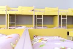 Modern kindergarten bedroom with small beds Stock Photos