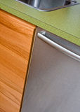 Modern kitchen. Counter, cupboard, stainless steel dishwasher and sink in modern kitchen royalty free stock photo