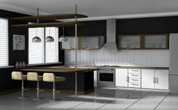 Modern kitchen. Interior visualization. High quality 3D rendered image Stock Images