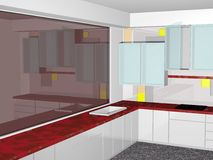 Modern kitchen. 3D rendering of a modern kitchen Stock Image
