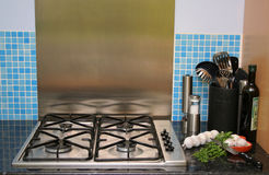 Modern Kitchen 2. Gas cooking area in a modern kitchen Royalty Free Stock Photos
